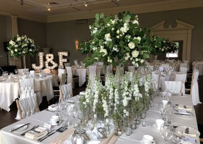 Initials of bride and groom in small light up letters from Ray of Light Letters, Lincolnshire and Yorkshire