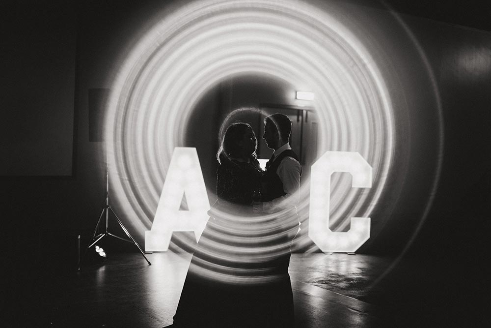 Wedding letters of couple initials in light up letters from Ray of Light Letters, Lincolnshire and Yorkshire