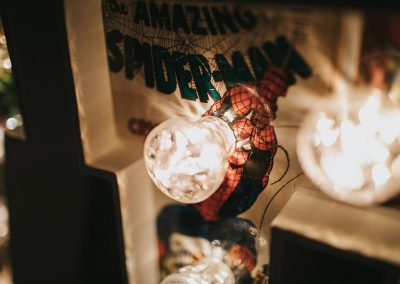Spider Man background in lighted letters of LOVE for wedding from Ray of Light Letters, Lincolnshire and Yorkshire