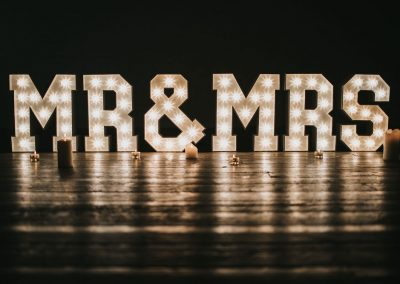 MR & MRS in large light up letters for your wedding, renewal of vows or anniversary party