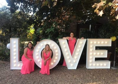 Light up letters spell LOVE perfect for your wedding reception from Ray of Light Letters, Lincolnshire and Yorkshire