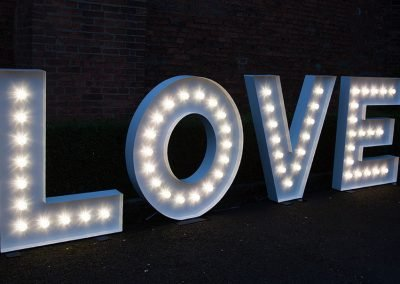 LOVE in light up letters from Ray of Light Letters, Lincolnshire and Yorkshire