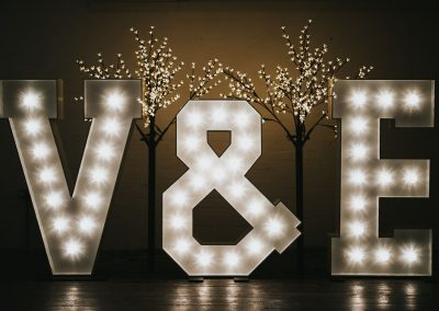 Bride and groom initials in large, lighted letters with 6ft illuminated cherry blossom trees behind