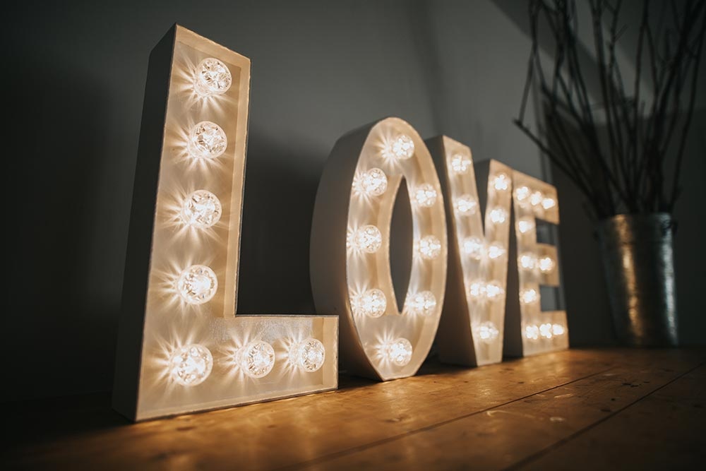 Small lighted letters of LOVE from Ray of Light Letters, Lincolnshire and Yorkshire