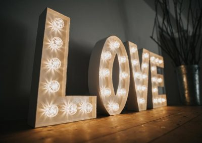 LOVE light up letters in modern font from Ray of Light Letters, Lincolnshire and Yorkshire