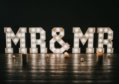 Large marquee light up letters MR & MR