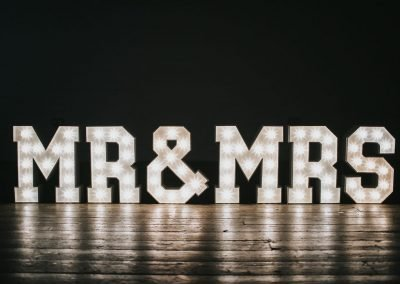 Text MR & MRS in large, light up letters from Ray of Light Letters, Lincolnshire and Yorkshire