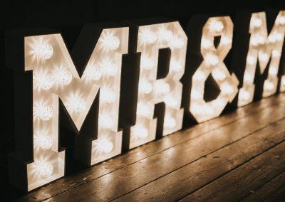 Same sex wedding or civil partnership light up letters MR & MR
