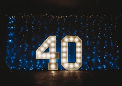 Lighted numbers are perfect for a birthday party