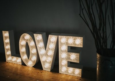 LOVE in light up letters modern font from Ray of Light Letters, Lincolnshire and Yorkshire