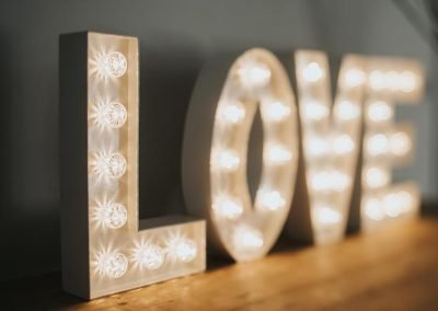 LOVE in small 2ft lighted letters from Ray of Light Letters, Lincolnshire and Yorkshire