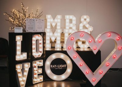 Selection of small light up letters, signs and symbols from Ray of Light letters, Lincolnshire and Yorkshire