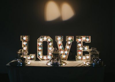 LOVE in small letter lights from Ray of Light letters, Lincolnshire and Yorkshire