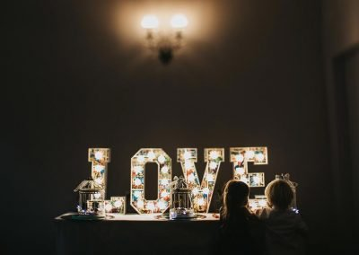 Spell LOVE in lighted letters from Ray of Light letters, Lincolnshire and Yorkshire