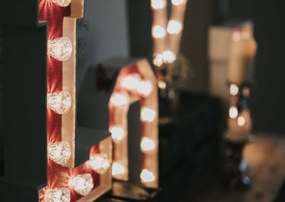 Light up letters spell LOVE for wedding from Ray of Light letters, Lincolnshire and Yorkshire