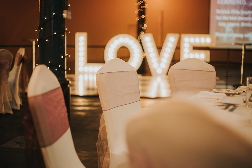 Wedding reception LOVE in lighted letters from Ray of Light Letters, Lincolnshire and Yorkshire