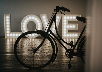 Illuminated word LOVE in large wooden letters from Ray of Light Letters, Lincolnshire and Yorkshire