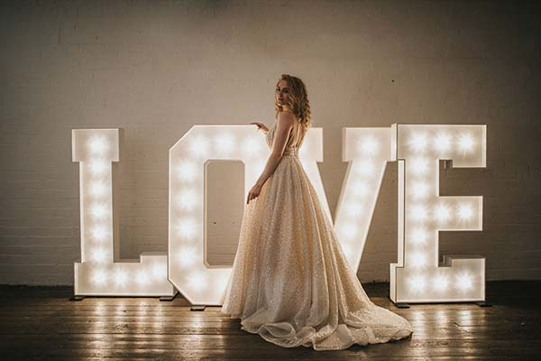Large light up letters are 4.5ft tall for weddings, parties, advertising and corporate events