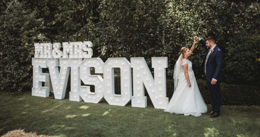 Large and small light up letters for your wedding