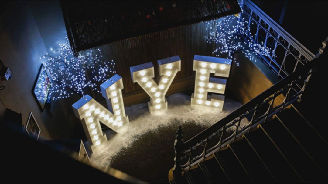 New Year's Eve light up letters